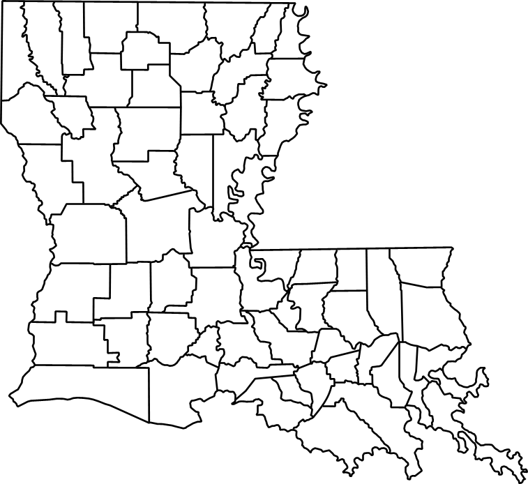 Parishes documented in Louisiana